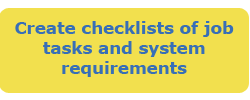 Create checklists of job tasks and system requirements