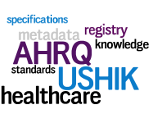 Tag cloud with words like specifications, metadata, registry, knowledge, stanrdards and healthcare.
